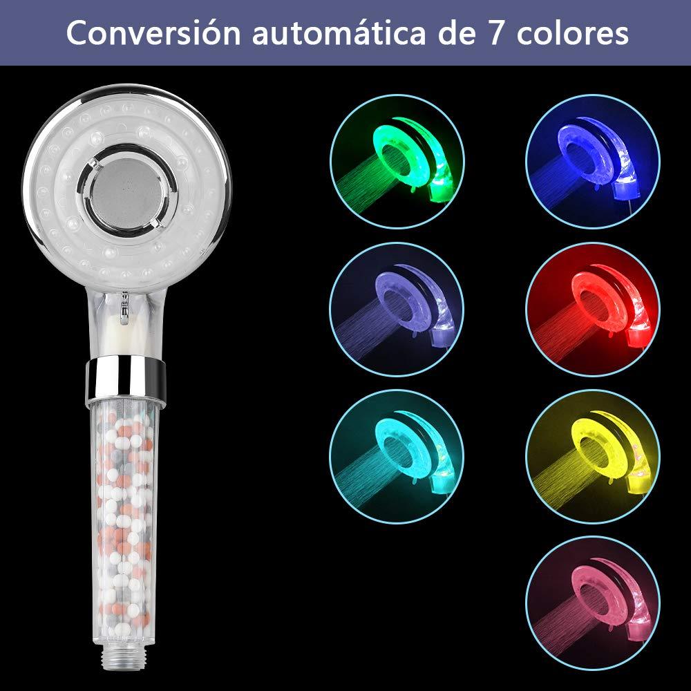 Cabeza de Ducha 3 Modos Masaje con 7 Cambio de Color Alta Presi/òn Ahorro de Agua con Filtro Rovtop Alcachofa de Ducha LED