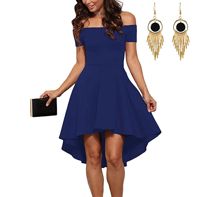 Lylafairy Vestidos Azul, Mujeres Asimétrico Hombro de la Palabra sin Tirantes Vestido de Cóctel Falda
