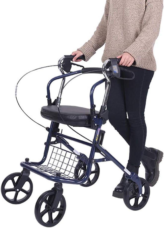 XJZHAN Andador De Andador Plegable Ligero con Asiento Acolchado De 4 Ruedas con Placa De Pedal Y Canastilla Debajo del Asiento Ayuda De Movilidad