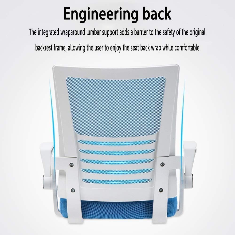 Xiuyun kontorsstol latexkudde bekväm vadderad nätstol med ländrygg stöd höjd justerbar svängbar datorstol skrivbordsstol med uppfällbart armstöd lager (färg: blå) BLÅ