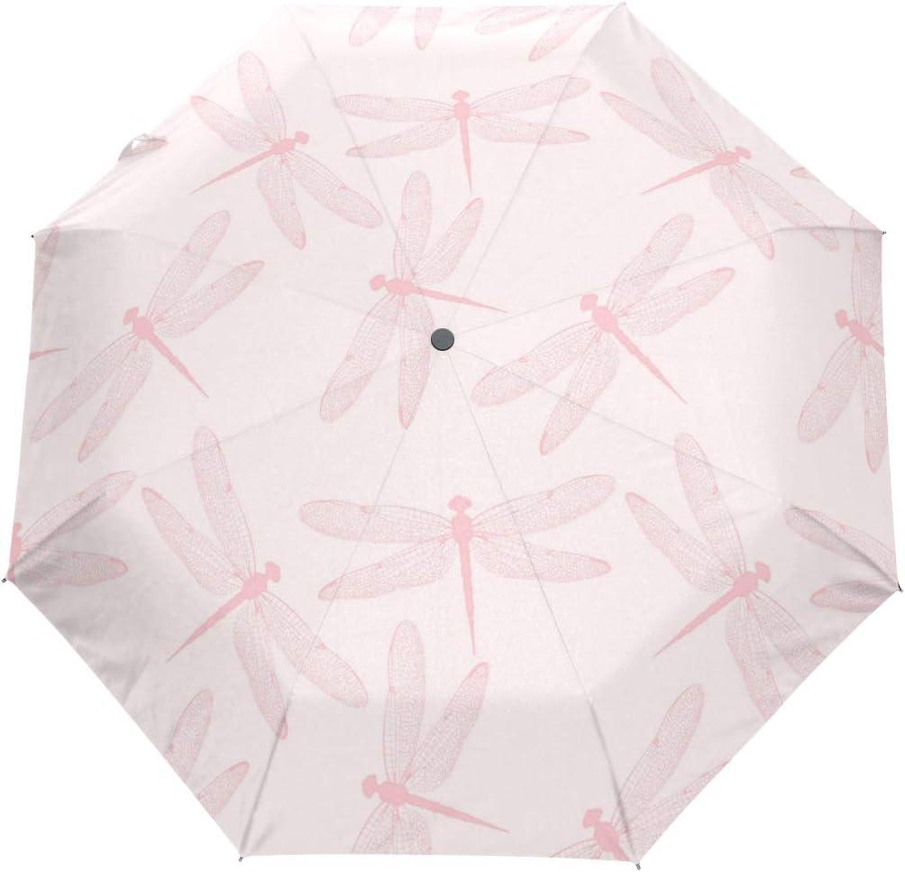 Gifts Womens Pink Dragonfly Tissue fashion print cute Windproof automatic tri-fold umbrella sun UV protection Sun umbrella
