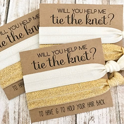 Set of 5 Bridesmaid Proposal | Will You Help Me Tie The Knot | Hair Tie Favors (Ivory + Gold Shimmer)