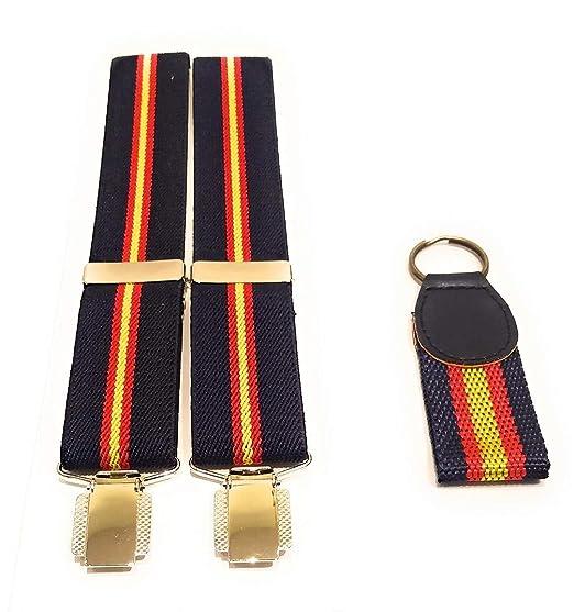 Tirantes elásticos caballero Azul Bandera España y regalo de llavero con la bandera de España