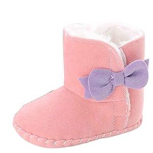 Sagton Baby Girl Soft Sole Snow BootsToddler Crib Shoes (US:4, Pink)