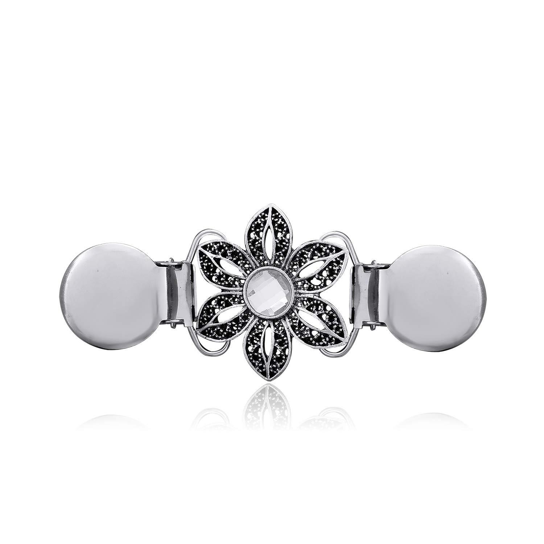 YOQUCOL Flower Cardigan Clip Black Petals CZ Crystal Sweater Clip Silver Retro Brooch Shawl Clip AXS014