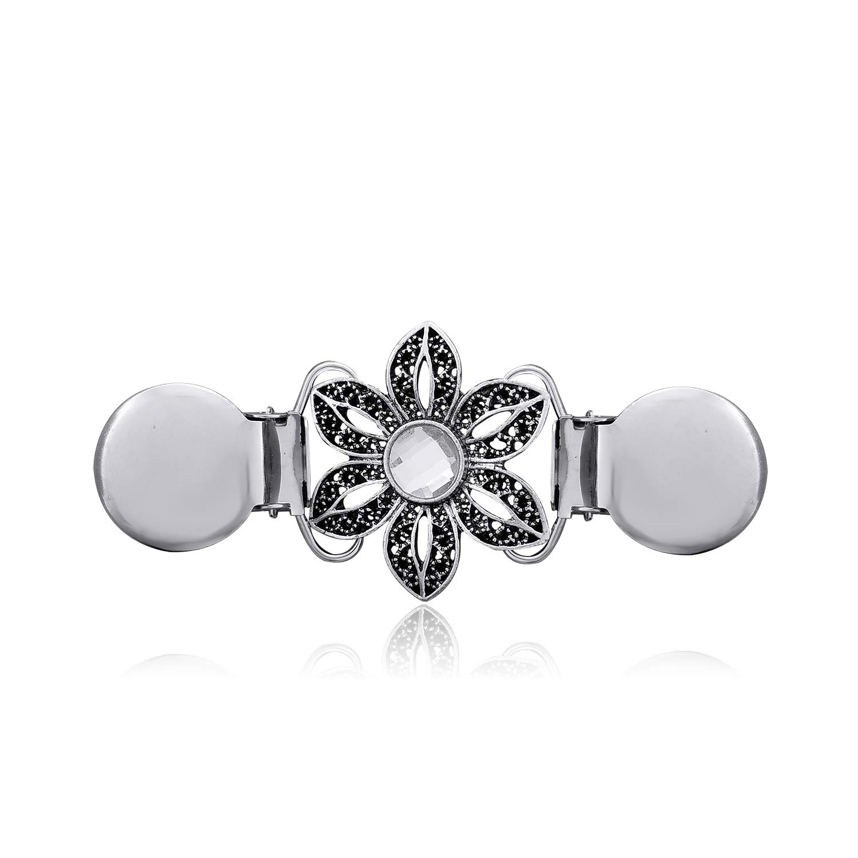 YOQUCOL Flower Cardigan Clip Black petals CZ Crystal Sweater Clip Silver Retro Brooch Shawl Clip
