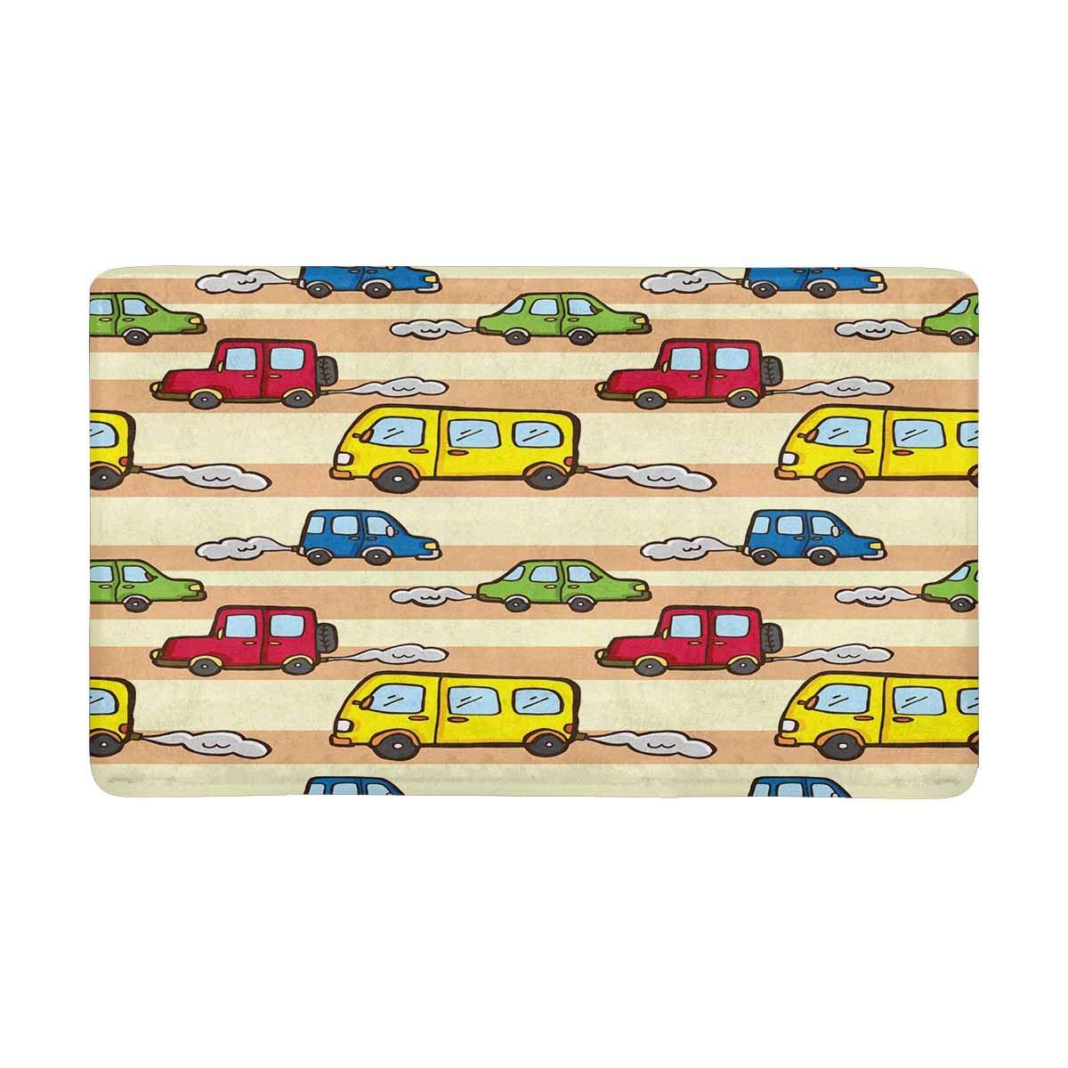 InterestPrint Cartoon Car Pattern Anti-Slip Door Mat Home Decor Indoor Entrance Doormat Rubber Backing 30 X 18 Inches