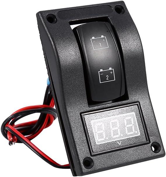 qiilu 12/V DC Marine Boot Voltmeter LED Panel Dual Battery Test Rocker Schalter ON-OFF-ON Nockenschalter