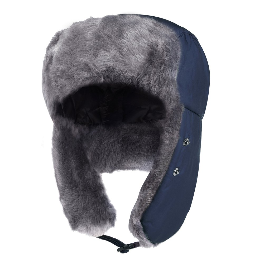 Vbiger Trapper Hat with Ear Flaps Nylon Windproof Winter Warm Hunting Hats for Men & Women (Navy Blue) by VBIGER (Image #7)