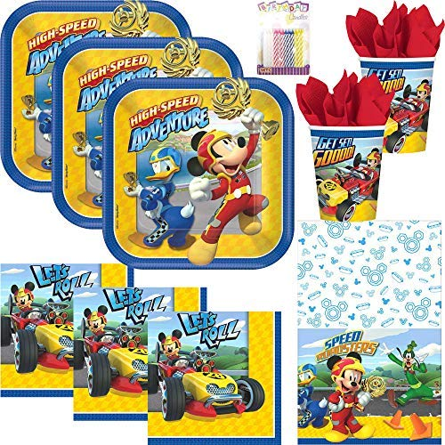 Disney Mickey Roadster Party Supplies Pack Serves 16: Dessert Plates, Beverage Napkins, Cups, Table Cover and Birthday Candles ()