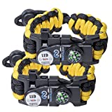 whistle buckle 1 2 - Survival Paracord Bracelet set for Women or Men used in emergency outdoor situations with 550 adjustable tactical grade and multi tool kit, firestarter, compass, whistle and more - 2 PACK Yellow