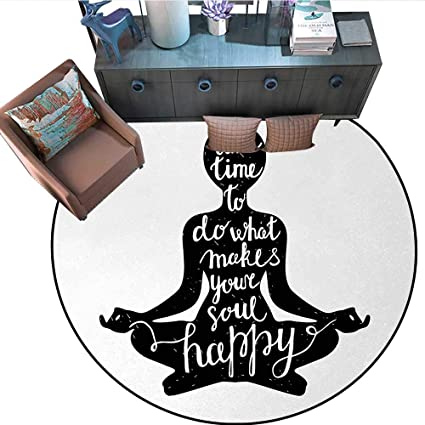Amazon.com: Yoga Circle Rugs Black Silhouette with Quote ...