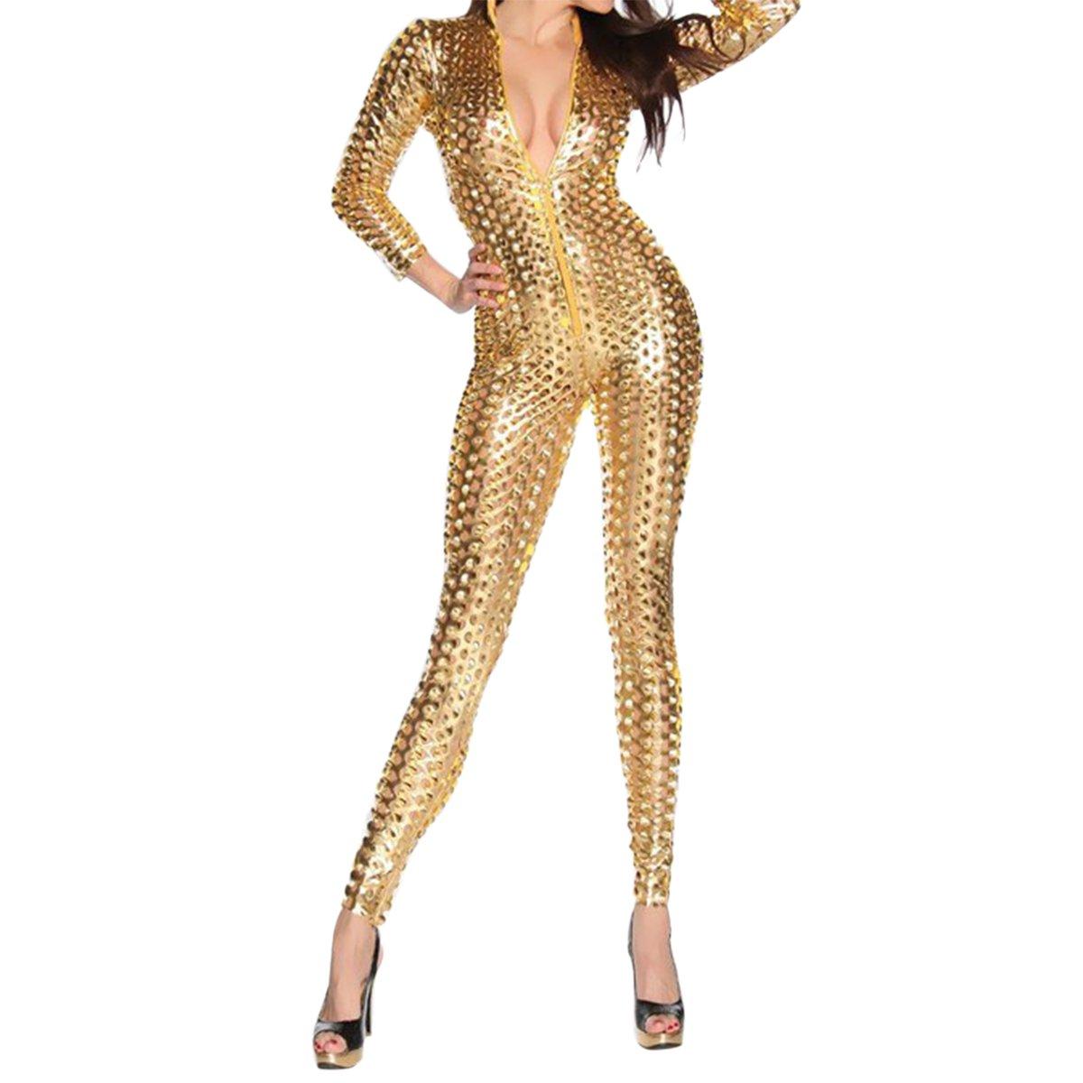 a2c5748ee5 Amazon.com  Quesera Women s Sexy Hollow Catsuit One Piece Metallic Skinny  Stretch Bodysuit  Clothing