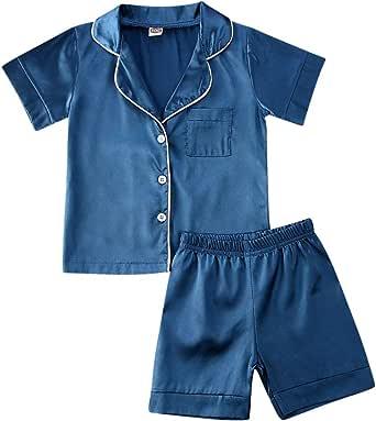 Ambabe Toddler Unisex Baby Girl Boy Pajamas Set Short//Long Sleeves Leopard Shirt+Shorts Pants 2PCS Satin Silk Pjs Sleepwear