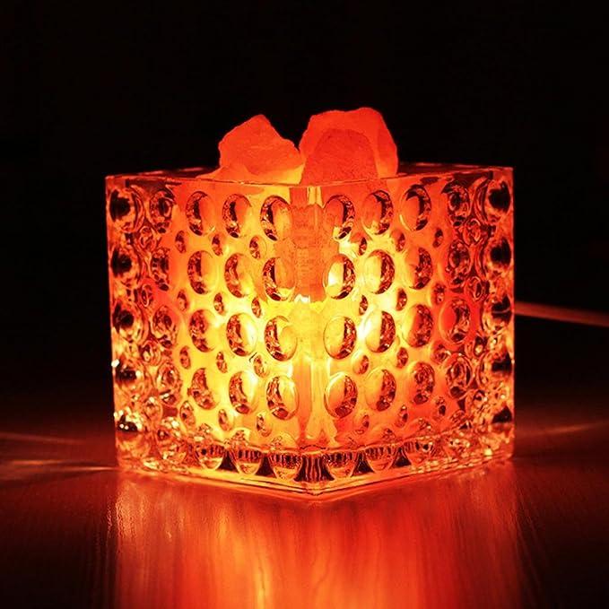 GZD Creative table lamp Crystal salt lamp Night light