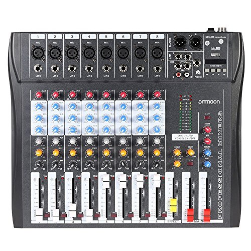 Recording Bus 8 Console (ammoon CT80S-USB 8 Channel Digtal Mic Line Audio Mixing Mixer Console with 48V Phantom Power for Recording DJ Stage Karaoke Music Appreciation)