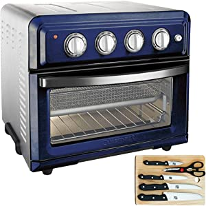 Cuisinart TOA-60NV Convection Toaster Oven Air Fryer with Light, Navy Bundle with Home Basic 5-Piece Knife Set with Cutting Board