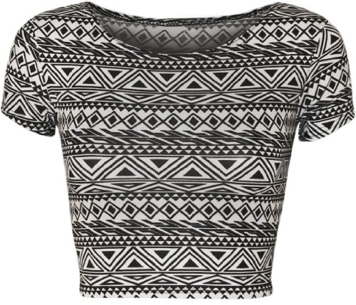 Wearall Womens Aztec Tribal Print Short Stretch Cap Sleeve Vest Crop Top   Little Aztec   Us 4 6  Uk 8 10