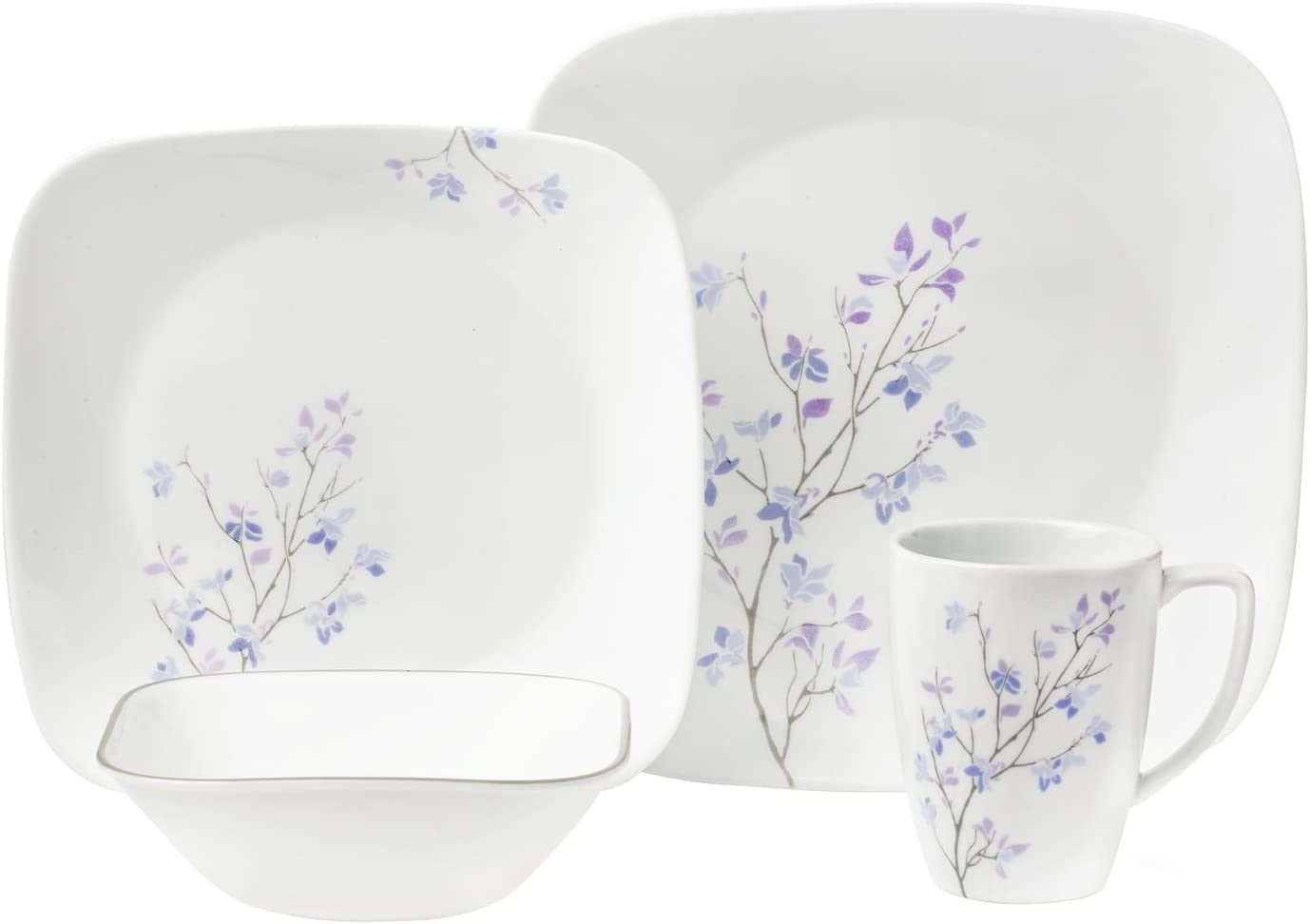Corelle 16-Piece Vitrelle Glass Jacaranda Chip and Break Resistant Dinner Set, Service for 4, Purple