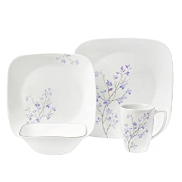 Corelle 16 Piece Square Jacaranda Dinnerware Set