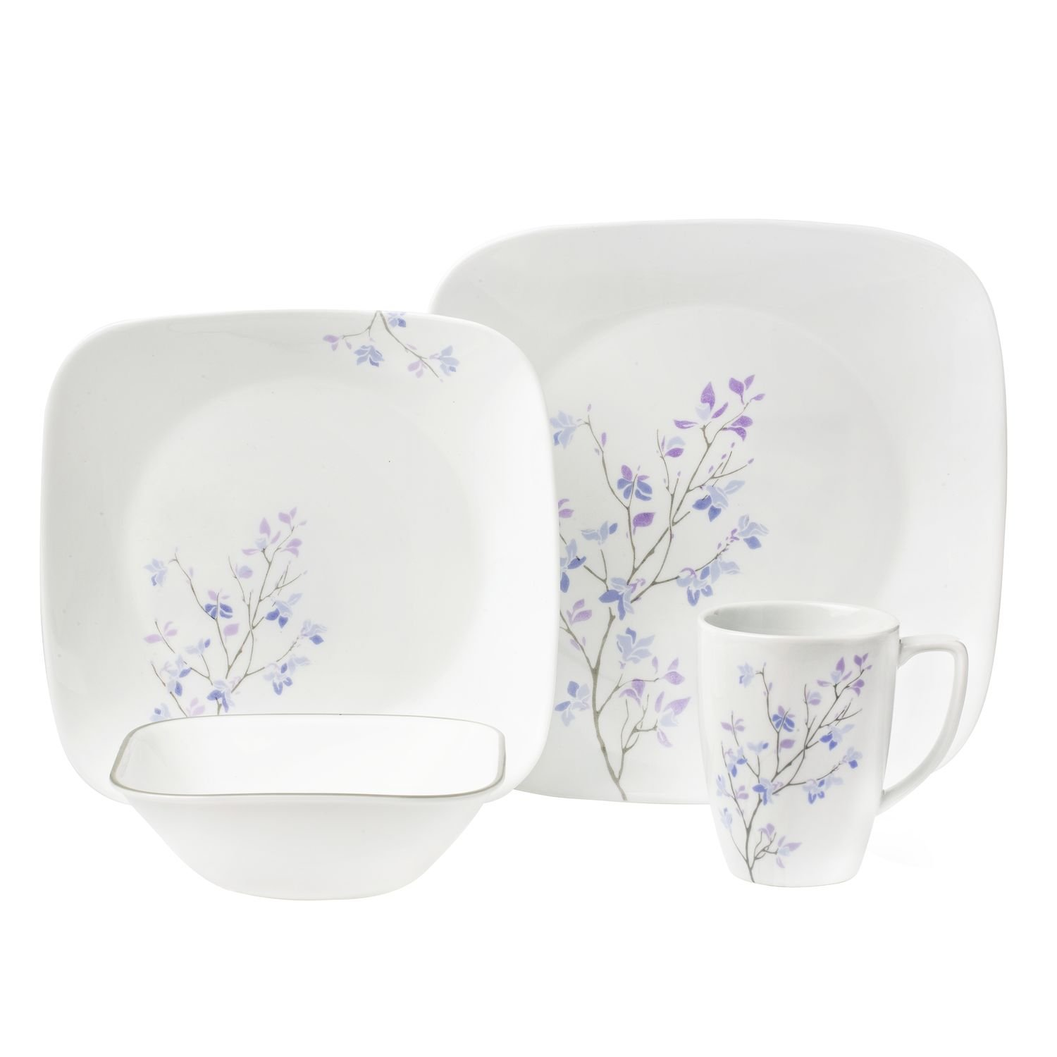 Corelle Square 16-Piece Dinnerware Set, Jacaranda, Service for 4