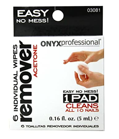 Onyx Professional 6 Pack Acetone Nail Polish Remover Wipes - Removes Nail Polish, Nail Glitter