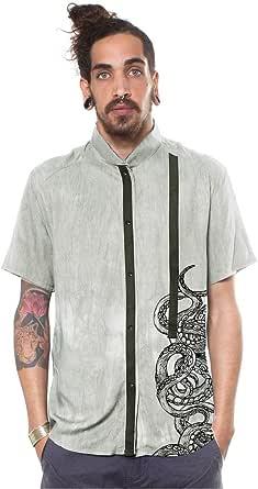 Camisa Manga Corta Verde Lavado con diseño de tentáculos de Pulpo - Ropa Urbana para Hombre Talla S: Amazon.es: Ropa y accesorios