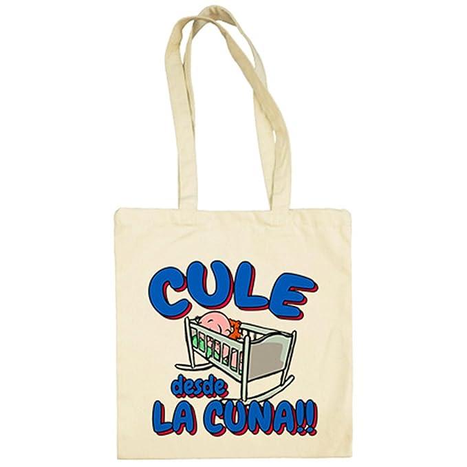 f5f14ad8d Bolsa de tela Culé desde la cuna Barcelona fútbol - Beige, 38 x 42 cm:  Amazon.es: Ropa y accesorios