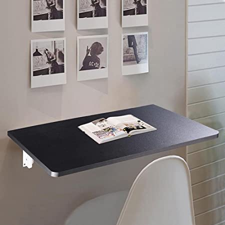 Yescom Wall Mounted Floating Folding Computer Desk 66lbs Weight Capacity PC Dining Wooden Table 23 5 8 x 15 3 4 Black