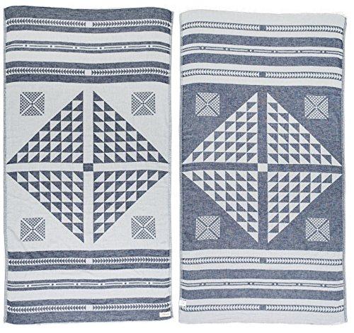 Bersuse 100% Cotton - Aruba Turkish Towel - Bath Beach Fouta Peshtemal - OEKO-TEX Certified - Aztec Geometric Dual-layer Handloom Pestemal - 37X70 Inches, Dark Blue (Set of 6) (Pool Aruba Round)