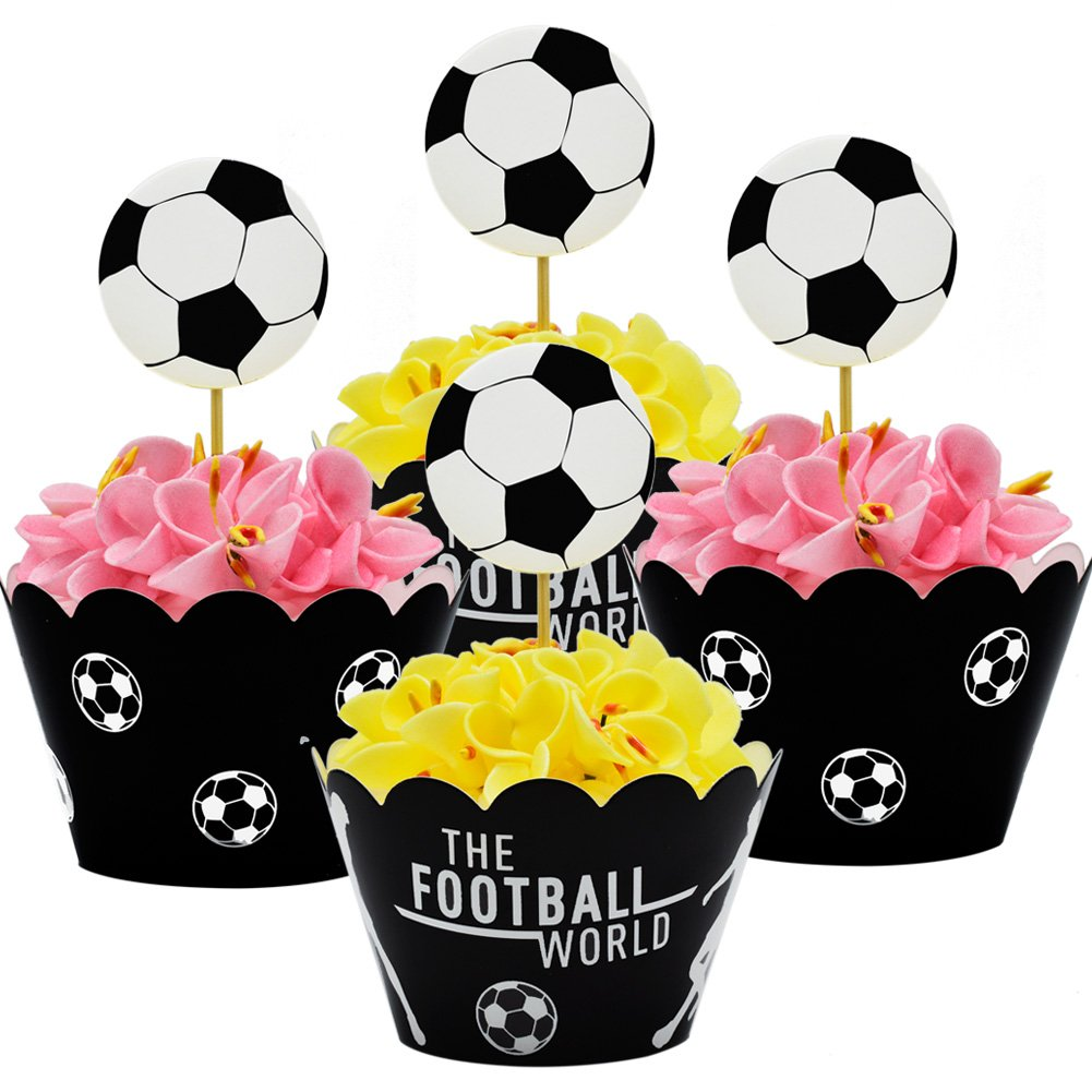 Betop House Set of 12 Pieces Soccer Football Sport Themed Summer Party Kids Birthday Baby Shower Cupcake Decorative Wrapper and Topper Kit