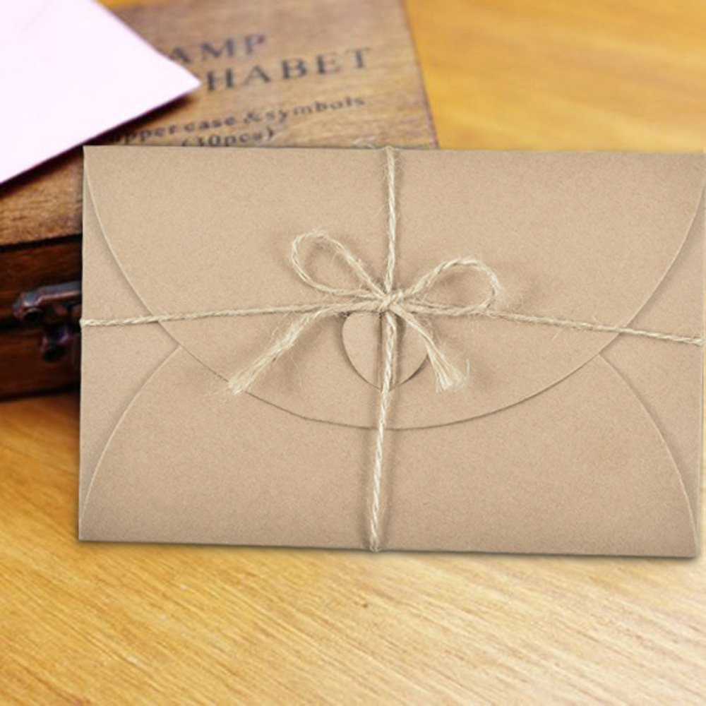 Vintage Café Sobres Kraft con Papel blanco, Hotipine Resistente Retro con Nudo de Bricolaje Amor Corazón para papel A6 Tarjetas de Felicitaciones Amor Cartas Amistad Diario 174Mm X 109Mm, 50 Pzas