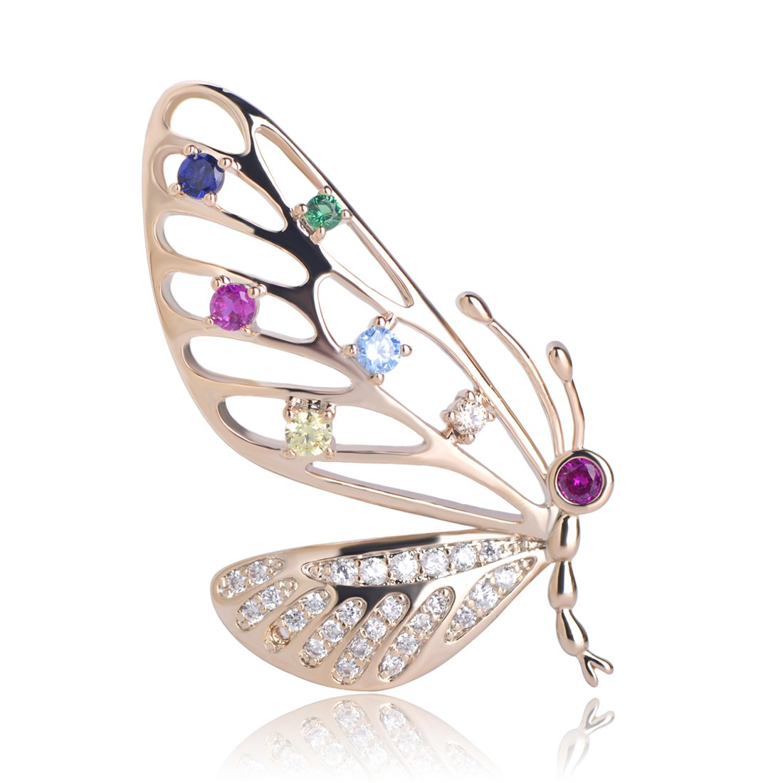 MECHOSEN Colorful Zircon Butterfly Shape Copper Brooches Jewelry For Women Girls Scarf Pins Suit Collar Clip Accessories