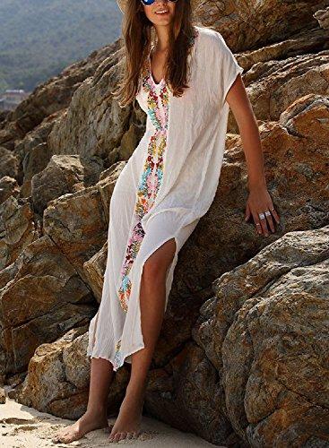 Women S Colorful Cotton Embroidered Turkish Kaftans Beachwear Bikini Cover Up Dress Buy Online
