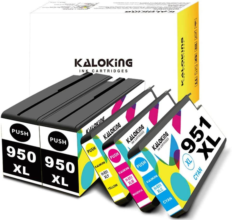 Kaloking Compatible Ink Cartridge Replacement for HP 950 951 XL 950XL 951XL Ink Cartridges for use with HP OfficeJet Pro 8600 8610 8620 8100 8630 8660 8615 8625 276DW 251DW 271DW 5 Pack