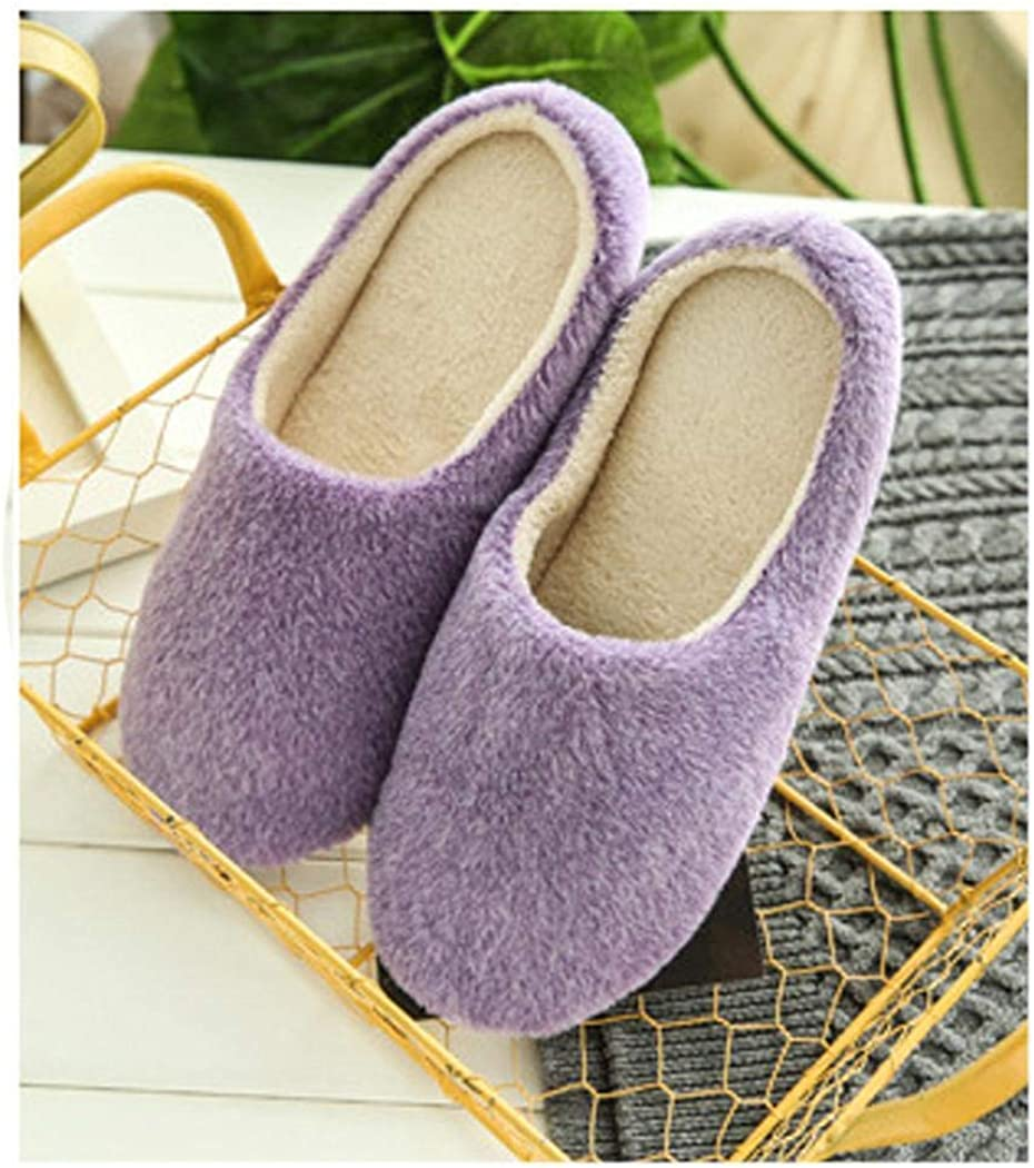 evelove Women Solid Cotton Slippers House Indoor Family Soft Slip-On Shoes Slippers Purple