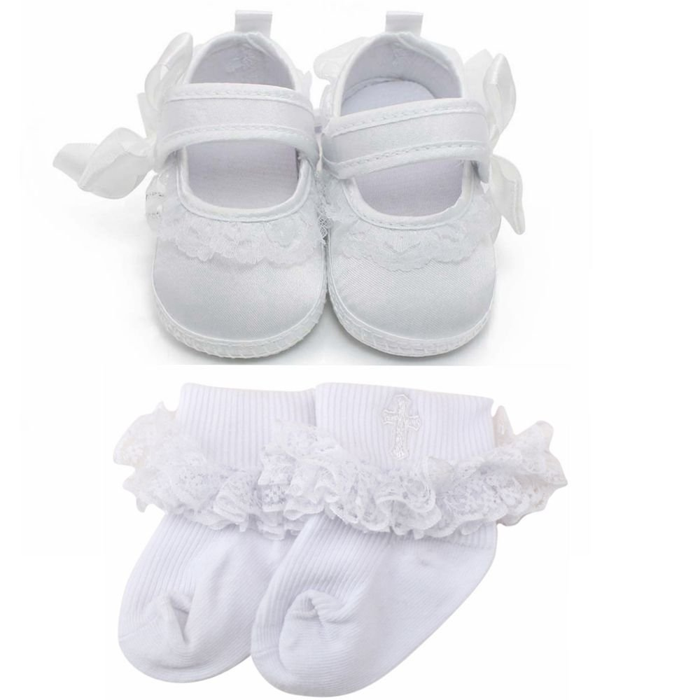 Delebao Baby Girl Infant Baptism Dance Ballerina Slippers with Bow Ribbon (9-12 Months, Shoes & Socks)