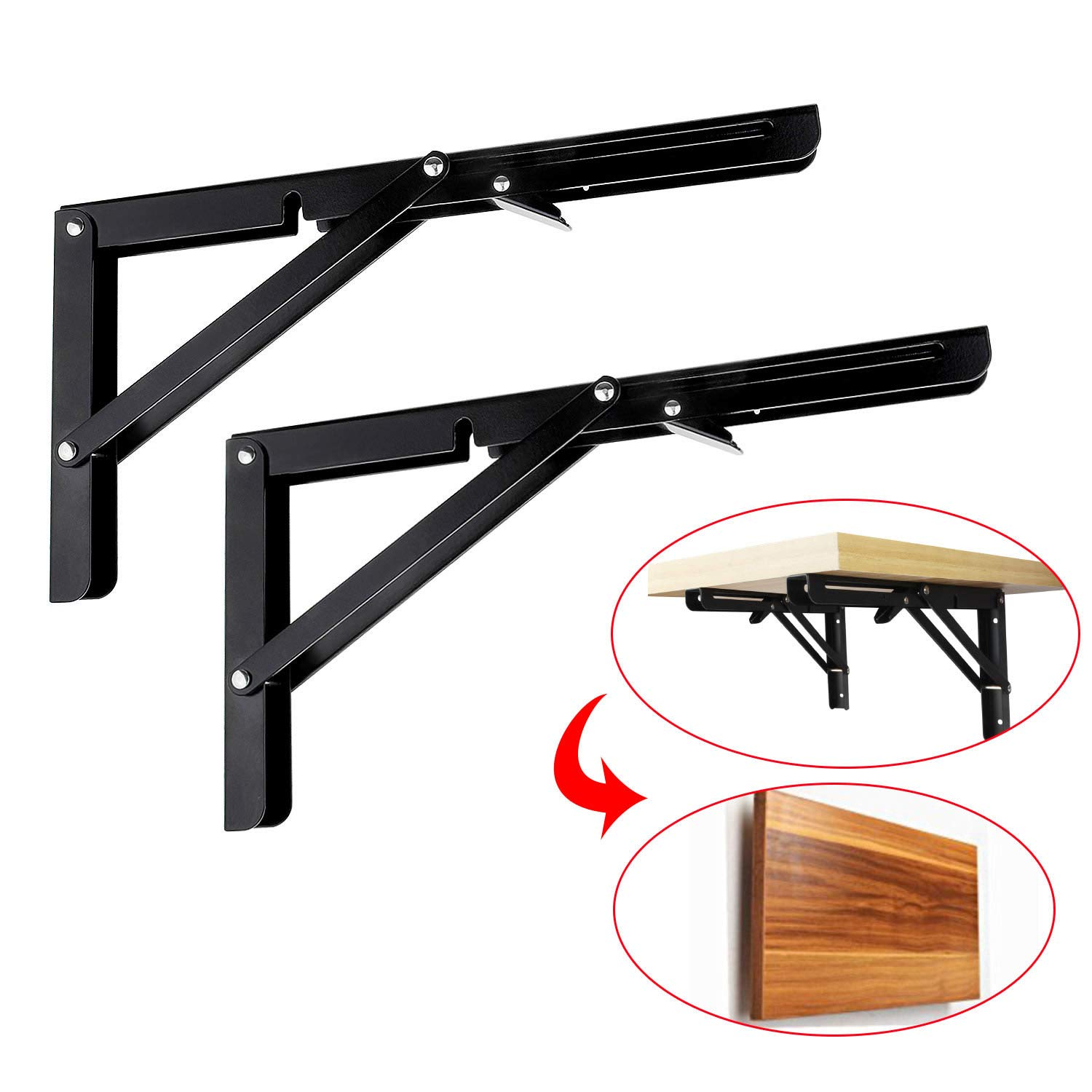 2 Pcs Folding Shelf Brackets 12 inch Black Heavy Duty Metal Triangle Table Bench Collapsible Shelf Bracket, Shelf Support Bracket Hinge Wall Mounted by STARVAST with Mounting Screws