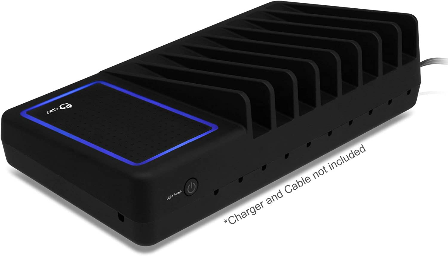 SIIG Desktop Universal 8-Slot Charging Device Organizer with Padded Ambient Light Deck and Internal Storage Space - Charging Device Not included - AC-CA0414-S1 (Black)