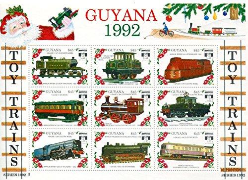 Mnh Trains (Guyana Stamps: 9 Stamp Minisheet, 1992, Toy Trains, MNH)