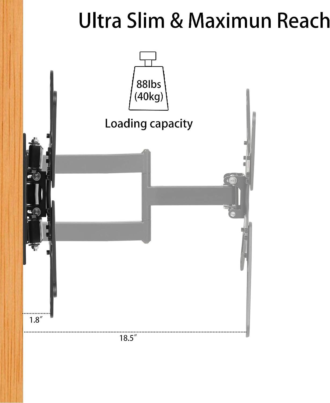 Soporte de pared para TV con brazo articulado para la mayoría de LED de 26 a 55 pulgadas, LCD, OLED, pantalla plana, televisores de plasma con inclinación, giro y extensible de 18.5