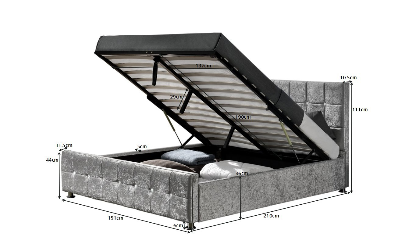 Double 4FT6, Silver Velvet Ottoman Cube Storage Bed available in Chenille and Velvet Double or King Size