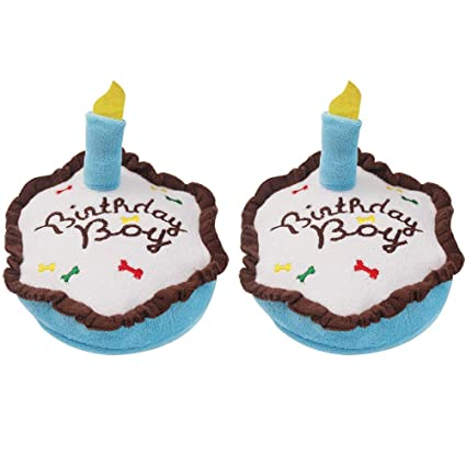 Pet Supplies 2 Pack Cute Dog Birthday Boy Cake Squeaky Plush Toys