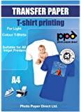 "Photo Paper Direct PPD Inkjet Iron-On Light T Shirt Transfers Paper LTR 8.5x11"" pack of 20 Sheets (PPD001-20)"
