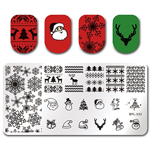 Born Pretty Nail Art Stamping Template Christmas Snowflake Santa Claus Christmas Tree Stocking Image Plate Xmas Snowflake BP-L032