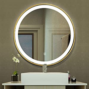 Wall-Mounted Illuminated LED Light Mirror, Round Backlit Touch Switch Makeup Mirror, Bicolor Light Bedroom Vanity/Hotel/Living Room (50/60/70/80 / 90cm)