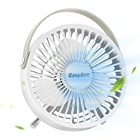 USB Desk Fan, EasyAcc 4 Inch USB Mini Table Fan Easy Cleaning Electric Portable Fan 3 Blades With Leather Handle Personal Fan ON/OFF Adjustable fit all USB Device For Office Home Desktop Table - White