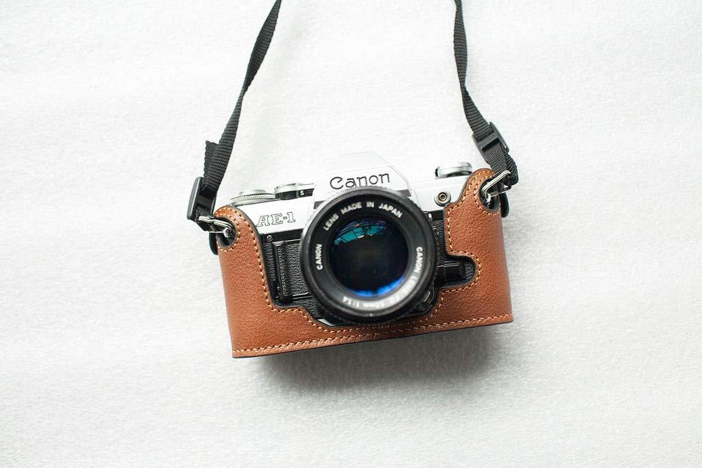 ハンドメイド 本革 ハーフカメラケースバッグカバー Canon AE-1用 B07KN1HP78 イエローブラウン