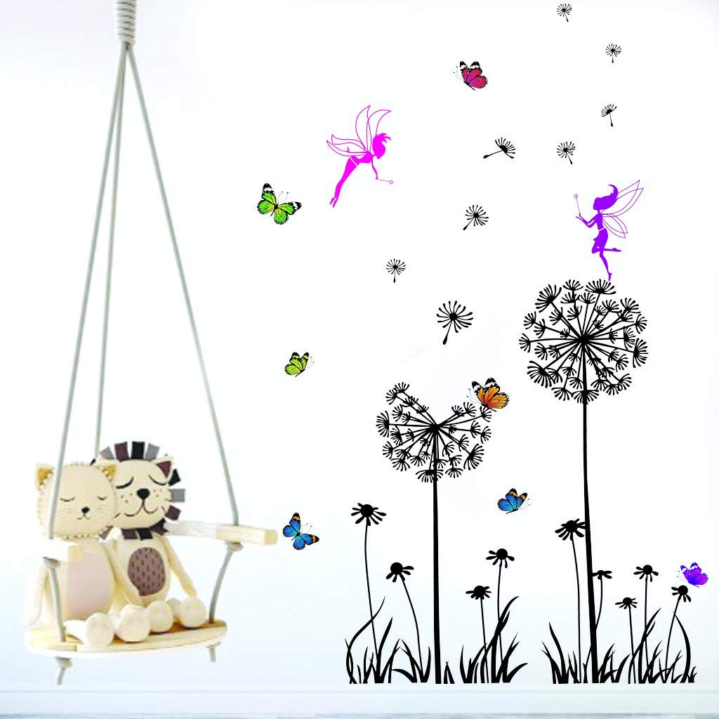 ♛Euone Wine Stopper ♛Clearance♛, Creative Dandelion Butterfly Elves Stickers Removable Mural PVC Home Decor