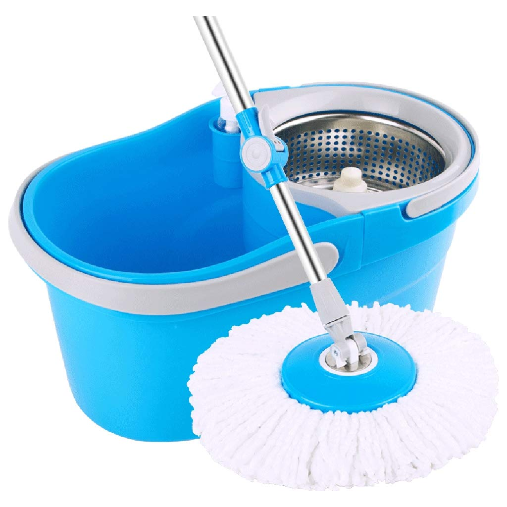 Rotary mop Removable Hand Pressure Dump MOP mop mop Double Drive Dry and Wet Dual-use mop pier Butuo Put Suitable for Cleaning Home Office classrooms and so on,Blue